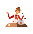 young woman with ladle cooking soup housewife vector image vector image