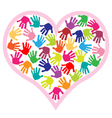 children hand prints in the heart vector image