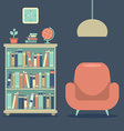 Modern Design Interior Sofa And Book Cabinet vector image