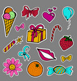a set of fashion labels badges ice cream flower vector image