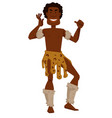 african tribe member man in animal skin and fur vector image vector image