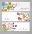 banners with cartoon travel doodles on white vector image vector image