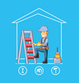 builder character with home repair icons vector image vector image