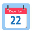 calendar icon flat december 22 22 december date vector image vector image