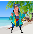 cartoon pirate with a sword on a tropical shore vector image
