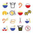 Chinese take away food icons - pasta rice spring vector image vector image
