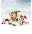 christmas background with little elf laying on the vector image
