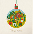 christmas vintage card of retro holiday bauble vector image vector image