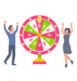 couple playing in fortune wheel and winning money vector image vector image