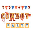 cowboy text with western decoration and wild west vector image vector image