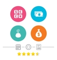 Currency exchange icon Cash money bag wallet vector image vector image