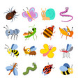 cute and funny bugs insects collection vector image vector image