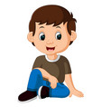 cute boy sitting on the floor vector image vector image