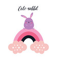 cute card with rabbit on rainbow isolated on white vector image vector image