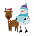 cute reindeer with snowman christmas characters vector image vector image