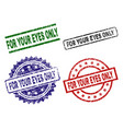 damaged textured for your eyes only seal stamps vector image
