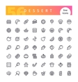 Dessert and Sweet Pastry Line Icons Set vector image vector image