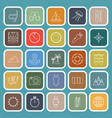 diving line flat icons on green background vector image