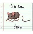Flashcard letter S is for shrew vector image vector image