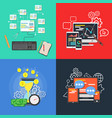 flat business banner set concept design element vector image