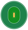 flat green cricket ground top view cricket field vector image