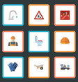 flat icons toolkit mitten caution and other vector image vector image