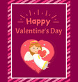 girl with heart angel and valentine day vector image vector image