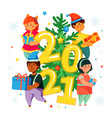 happy children at christmas tree - colorful flat vector image