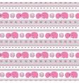 horizontal seamless pattern pink cartoon elefants vector image vector image