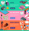 hotel service banner horizontal set isometric view vector image vector image