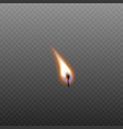 lighted wax candle flame realistic vector image