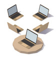 low poly laptop vector image vector image