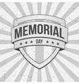 memorial day shield on striped grunge background vector image