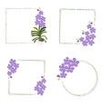 minimal purple vanda bouquet wreath frame vector image vector image