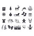new year symbols black isolated on white vector image