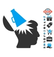 Open Brain Megaphone Icon With Free Bonus vector image vector image
