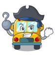pirate school bus character cartoon vector image vector image