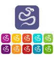 python snake icons set flat vector image vector image