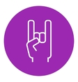 Rock and roll hand sign line icon vector image vector image