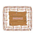 Sausages label or banner design with wood texture vector image vector image