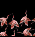 seamless border with japanese red crane vector image