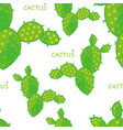 seamless cactus pattern on light background vector image vector image