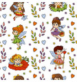 seamless pattern with little fairies on white vector image vector image