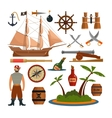 set sea pirates objects icons and vector image