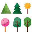 set six trees in different colors in a flat vector image vector image