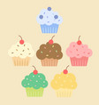 simple colorful cupcakes set vector image