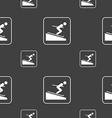 Skier sign Seamless pattern on a gray background vector image