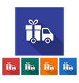 square icon of delivery car flat style with long vector image vector image