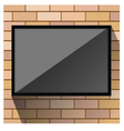TV on wall orange brick vector image