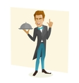 Waiter with a tray vector image
